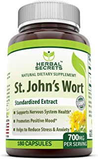 Herbal Secrets St. John's Wort 700 Mg 180 Capsules (Non-GMO) - Supports Feelings of Calm and Relaxation* Helps Maintain a ...