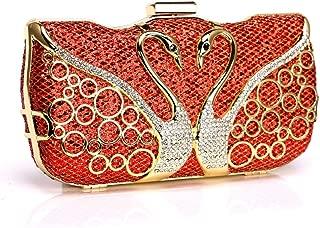 Kekelin Ladies Elegant Metal Inlay Dinner Handbag Bride Wedding Fashion Wallet (red)