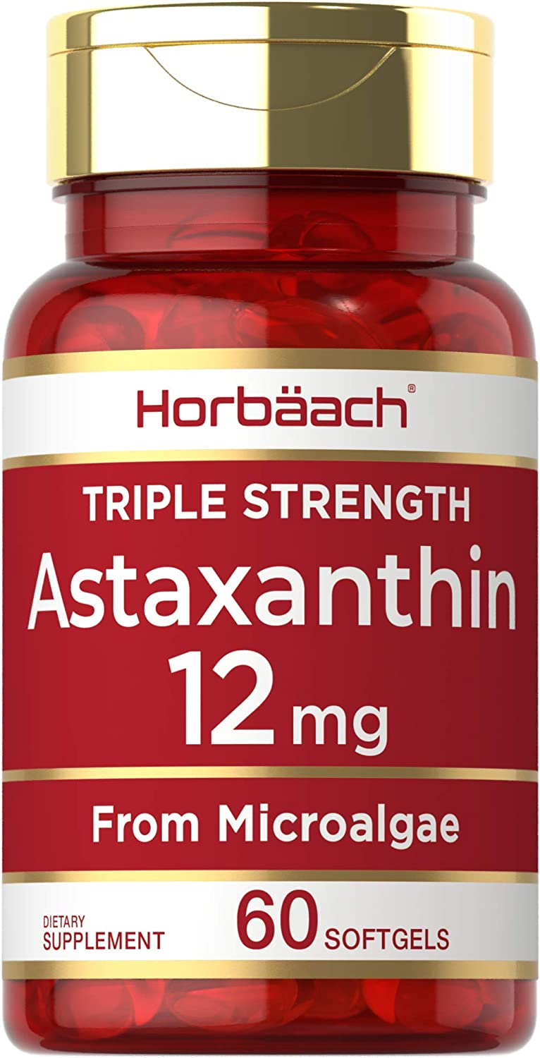 Triple Strength Astaxanthin 2021 model 12mg Non-GMO 60 Softgels Indefinitely Count