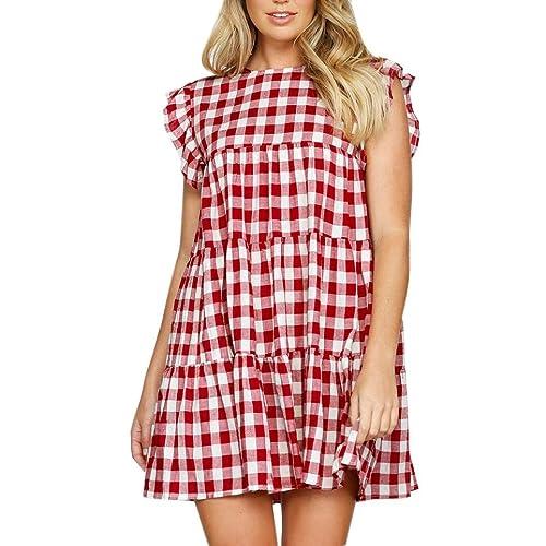 Vestidos Mujer Verano 2018,Las mujeres a cuadros casuales volante corto volante manga O-cuello mini vestido suelto LMMVP (Rojo, S)