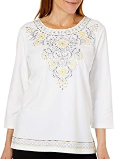 Alfred Dunner Women's Native New Yorker Floral Embroidered Yoke T-Shirt