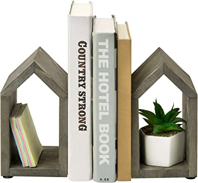 MyGift Vintage Gray Wood and Black Metal Decorative House-Shaped Design Book Ends, Set of 2