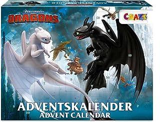 CRAZE Kalendarz adwentowy DRAGONS 3 dzieci kalendarz bożonarodzeniowy 2021 ze smokiem dla chłopców i dziewczynek kalendarz...