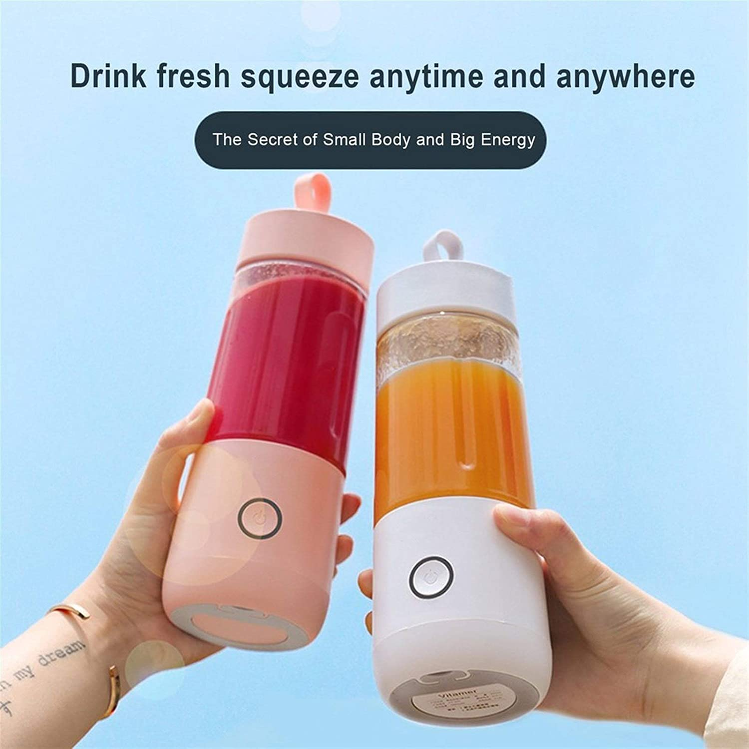Verwisselbare Vitamine Juice Cup Portable Juicer Youth oplaadbare Juice Cup Electric Juicer Professional Mode familie bijeenkomst (Color : White) Brown
