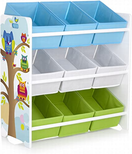 Leomark Houten Plank, Plank Voor Speelgoed. Motief  Uilen. Bunte Eulen Aufbewahrungsregal, Spielzeugregal, Kinderkast, Spielzeugablage Met 9 huifladen Textilschubladen