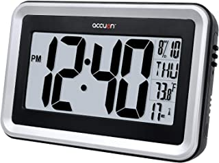 Accuon Large Atomic Radio-controlled Self-setting Digital Wall Clock with Indoor Temperature Display And Table Stand, Batteries Included, Color-Brushed Silver