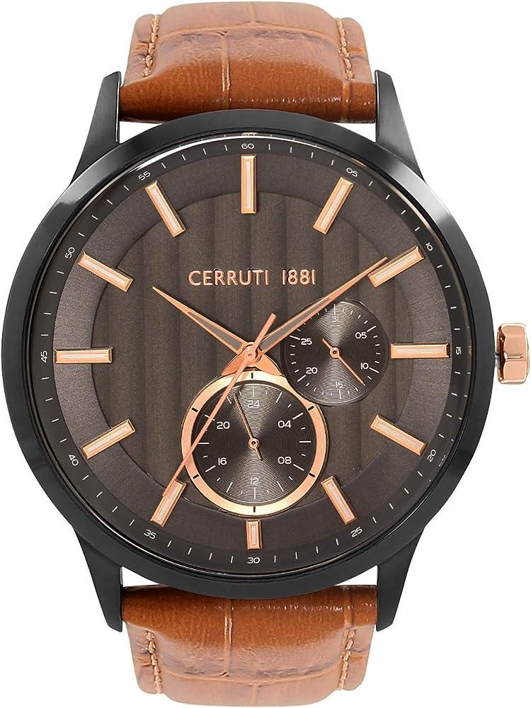 Cerruti 1881,orologio,cronografo per uomo,cassa in acciaio inossidabile e cinturino in vera pelle CRA20803