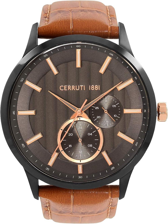 Reloj Cerruti 1881 de piel para hombre, color marrón