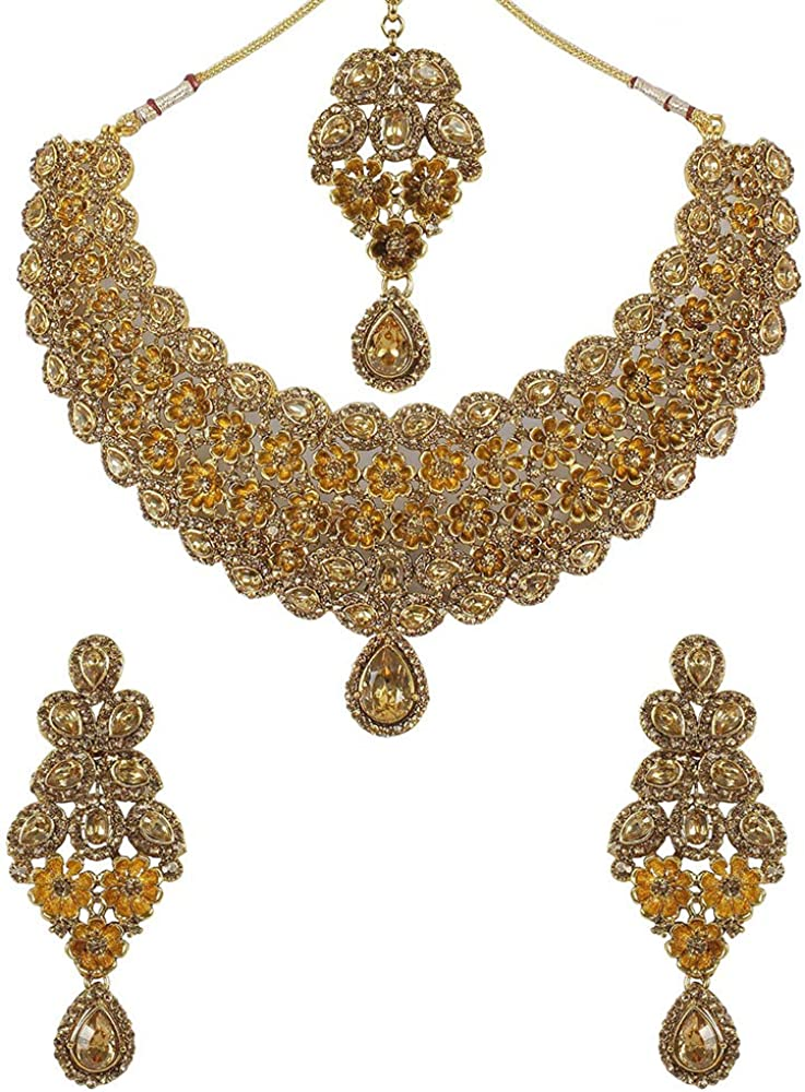 MUCH-MORE Indian Bollywood Bridal Jewelry Necklace Set in Antique Gold Tone for Women