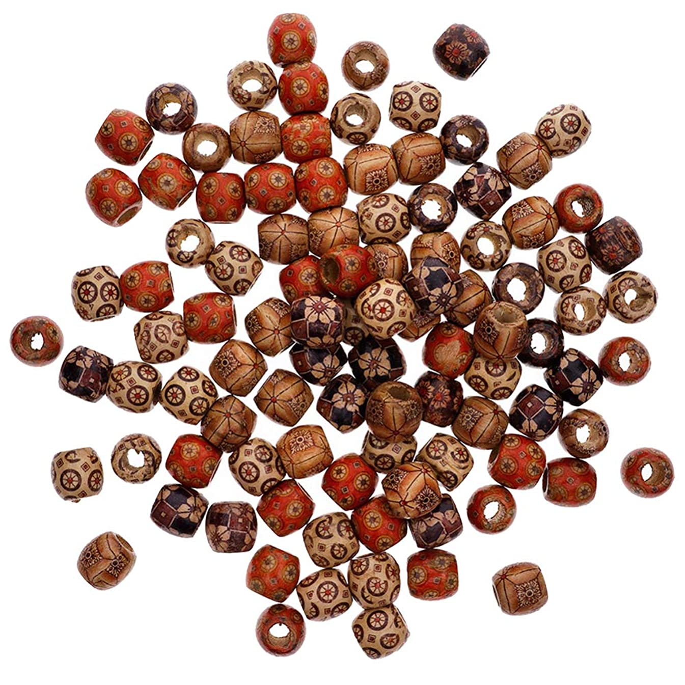 200 Pieces 17mm Assorted Painted Barrel Wooden Beads, Beading DIY Loose Wooden Beads