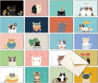 20 Greeting Cards, Blank Thank You Cards With Envelopes & Stickers-Cute Cat Bulk Note Cards Stationery Box Set For All Occ...