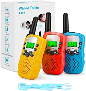 Fansteck 3-delige walkietalkies voor kinderen, draadloze set met zaklamp, 8 kanalen, 3 km bereik met touwen, speelgoed voo...