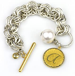 Initial Bracelet in Two-Tone with Pearl, 8-8.5