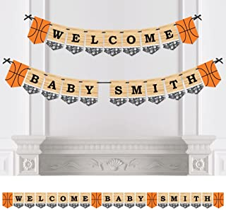 Big Dot of Happiness Custom Nothin' but Net - Basketball - Personalized Baby Shower Bunting Banner and Decoration - Welcome Baby Custom Name Banner