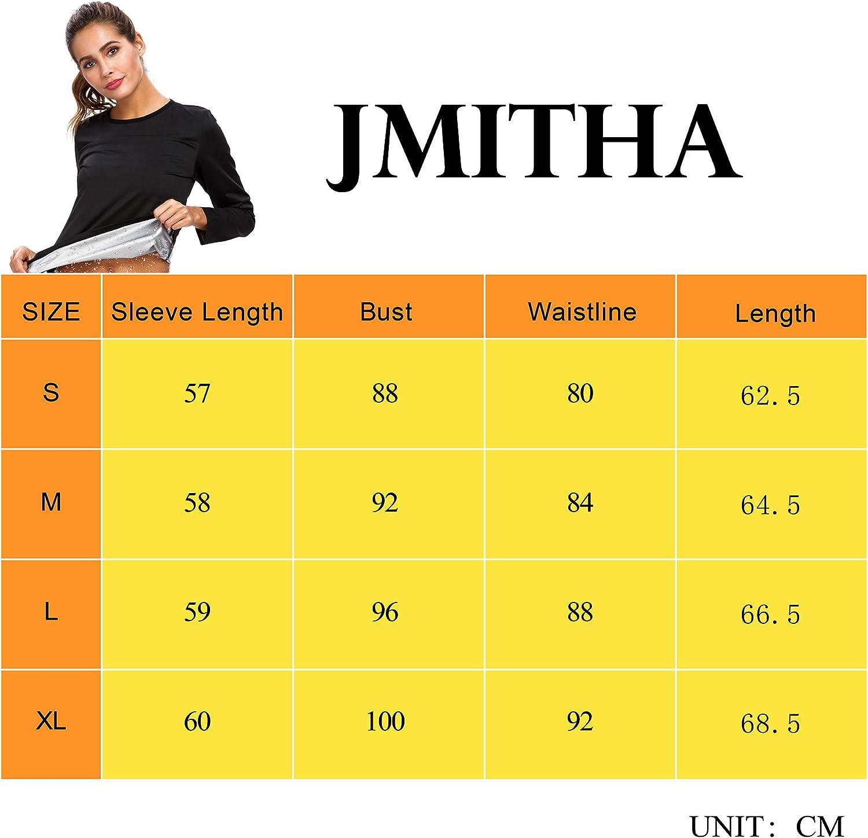 JMITHA Maglietta di Sudorazione Manica Lunga Sauna Snellente in Neoprene Trainer in Vita Camicia Serbatoio di Allenamento Hot da Donna Fitness
