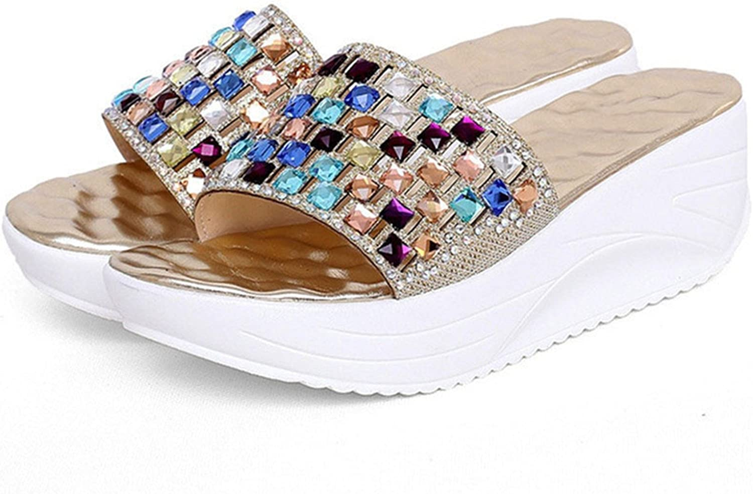 Leroyca Women colorful Rhinestone Slipper Wedge Platform shoes Crystal Flip Flops Sandals