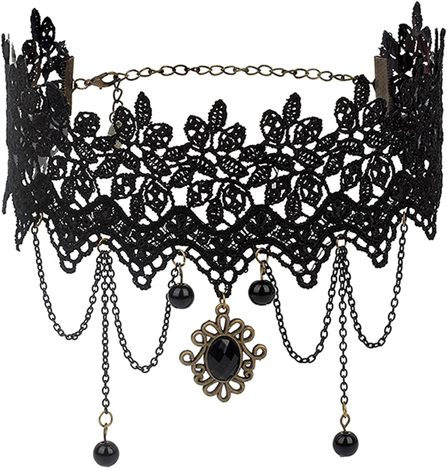 Gothic Lolita Lace Choker Necklace, Vintage Rose Black Lace Link Tassel Collar Necklace for Women Girls Halloween Cosplay Lolita Costume Jewelry