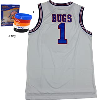 Bugs 1 Space Jam jersey Basketball Jersey Include Free Themed Wristbands (WHITE, XL)