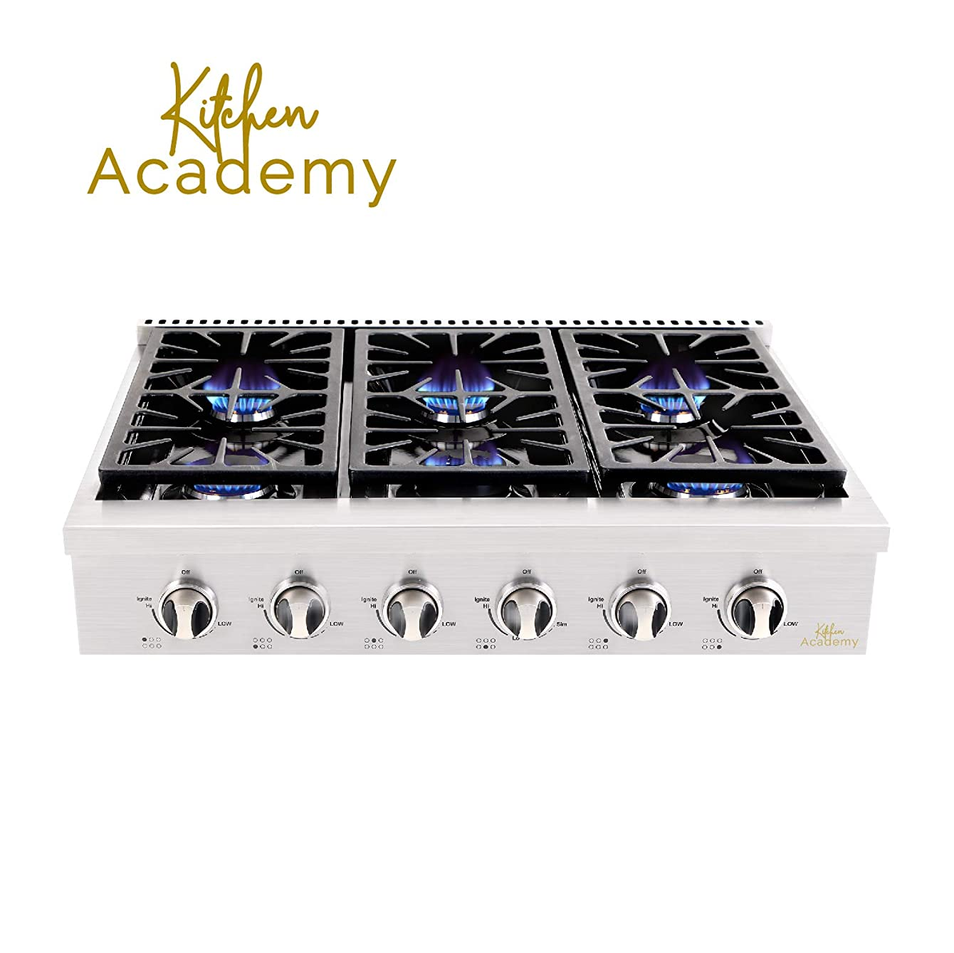 Kitchen Academy Professional 36'' Stainless Steel Gas Rangetop Cooktop with 6 Gas Burners