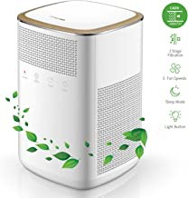 iTvanila Air Purifier, 4 in 1 HEPA Mini Home Air Purifier with 2 True Carbon Filters for Smokers dor Pollen Pets, Quiet Operation, Large Night Light, White