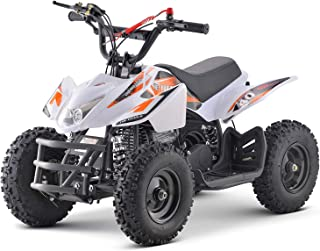 Superrio Kids ATV Titan 40cc Gas Powered Kids 4 Wheelers Kids Quads, Speed Limiter and Kill Switch (White & Orange)