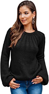 MAKEMECHIC Women's Casual Round Neck Bishop Sleeve Rib-Knit Top Sweater Pullover