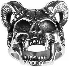 INRENG Men's Stainless Steel Goat Horn Skull Ring Vintage Gothic Devil Head Biker Jewelry