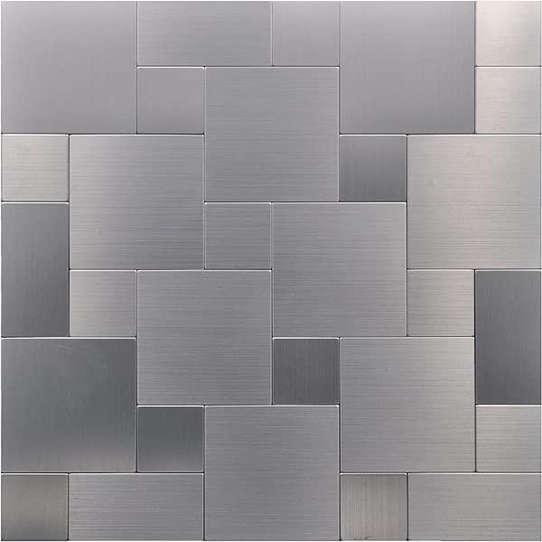 Art3d 12 X 12 Peel Stick Metal Decorative Wall Tile Puzzle Brush Silver Square