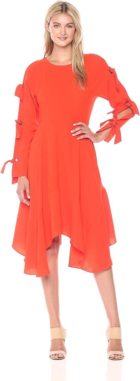 BCBGMAXAZRIA Womens Cicely Woven Dress with Tie Sleeve Detail Dress