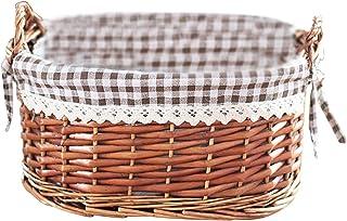 Zebery Panier de rangement en osier fait à la main, table centrale en tissu tissé, boîte de rangement pour cosmétiques, pa...
