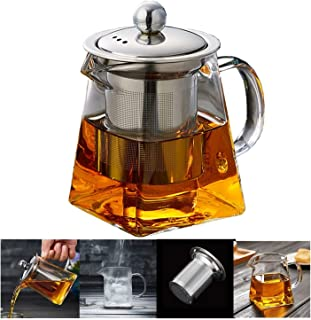 550ML Glass Teapot with Infuser,Heat Resistant glass Teapot with Removable Infuser, Borosilicate Clear Glass Tea Pots for Loose Leaf Tea and Blooming Tea