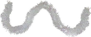 Northlight Festive Shiny Irridescent Christmas Tinsel Garland Unlit-6 Ply, 50', White