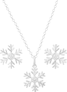 """Disney Frozen Jewelry Sterling Silver Snowflake Pendant Necklace and Stud Earring Set, 18"""" Chain for Women and Girls"""