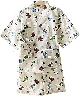 (ビメイゴー) Bmeigo 浴衣 こども 甚平 女の子 男の子 パジャマ 子供服 綿100% じんべい 通気 夏祭り 花火大会 パジャマ 寝間着 フルーツ 動物柄 上下セット キッズ ベビー 男女兼用 可愛い オシャレ