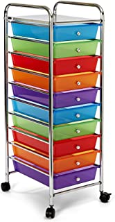 Seville Classics 10-Drawer Organizer Cart, Multi Color