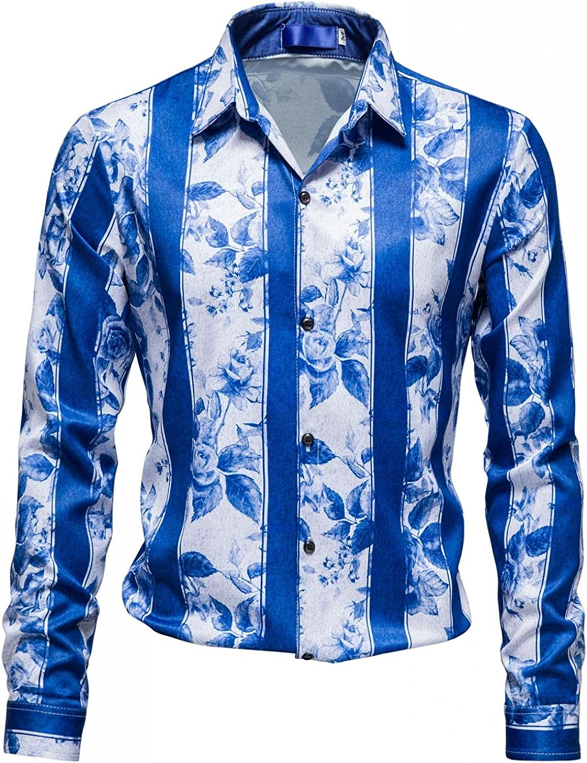 PHSHY Mens Floral Printed Shirts Business Office Work Dress Shirts Casual Long Sleeve Button Down Beach Tops Blouses