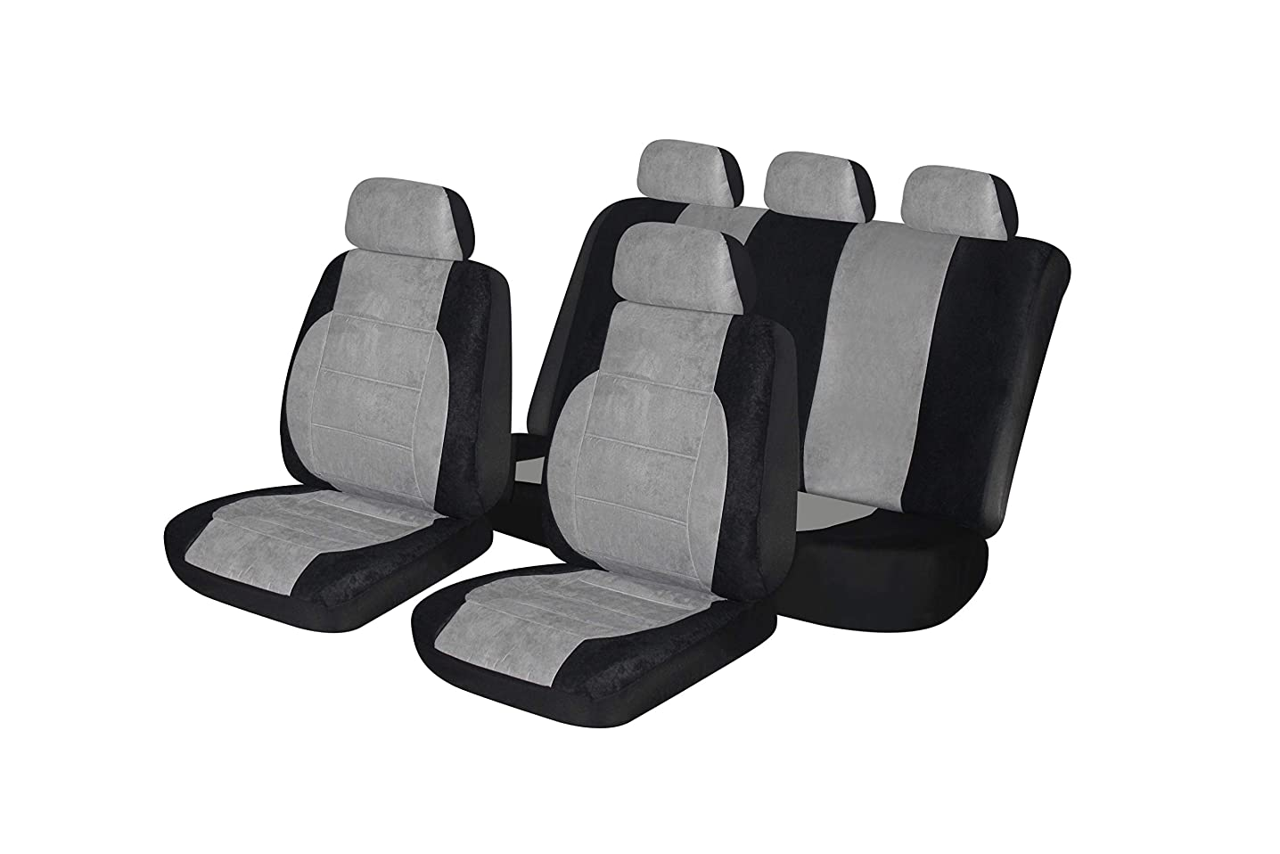Autonise Universal fit Classic Sport Bucket seat Cover (Fit Most Car,Truck, SUV, or Van with headrest) Airbag Compatible (Alcantara Gray, Full Set)