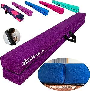 MARFULA Extra Stability Wood Folding Balance Beam Gymnastics Floor Beam for Kids/Adults Home Use