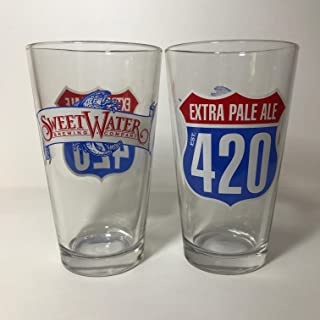 SweetWater Brewing Company - 420 Extra Pale Ale - 16 Ounce Pint Glass - 2 Pack
