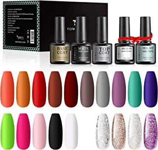 TOMICCA Gel Nail Polish Kit Fall Autumn 19 Bright Colors Glitter Red Brown Purple Soak Off UV LED Gel Polish Set with Base...