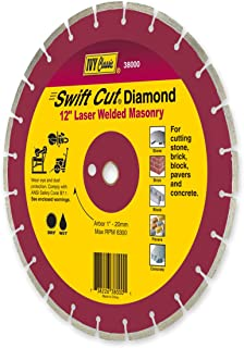 IVY Classic 38000 Swift Cut 12-Inch Dry and Wet Cutting Laser Welded Masonry Diamond Blade with 1-Inch - 20mm Arbor, 1/Card