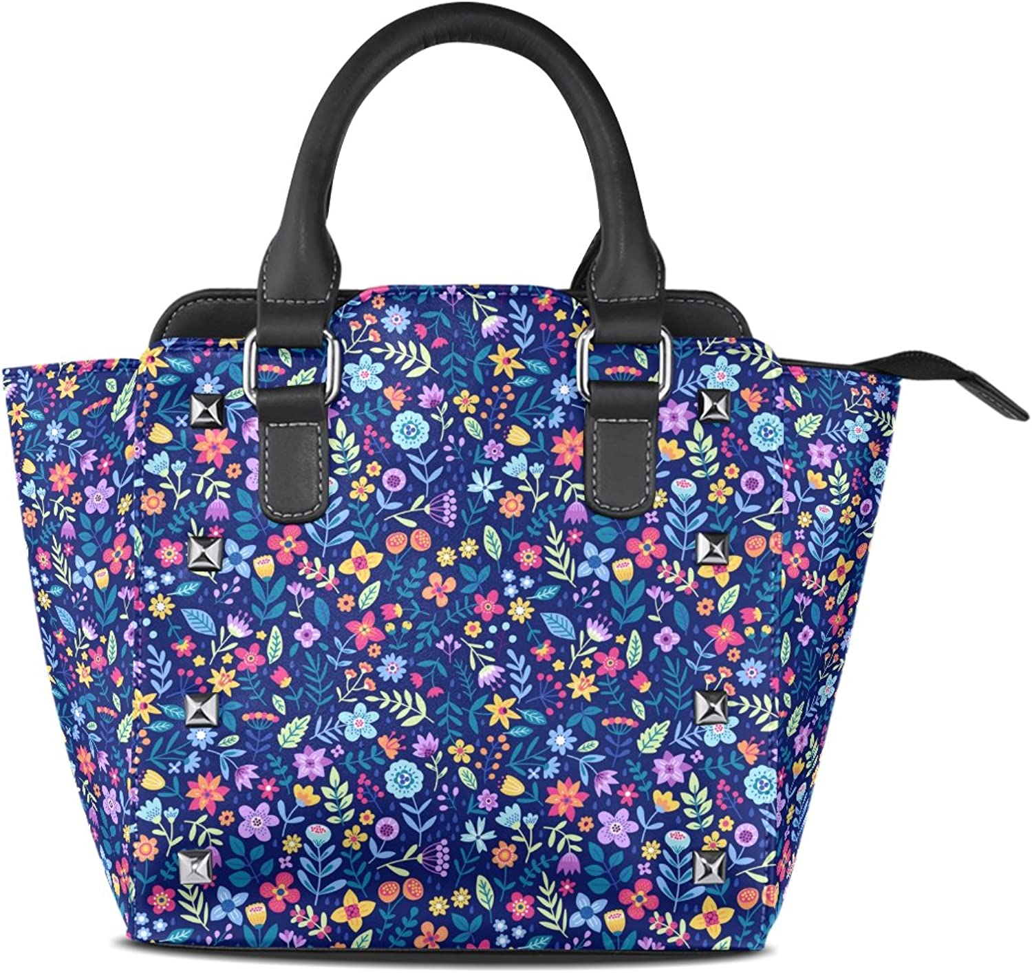 My Little Nest Women's Top Handle Satchel Handbag Cute Small colorful Flowers bluee Ladies PU Leather Shoulder Bag Crossbody Bag
