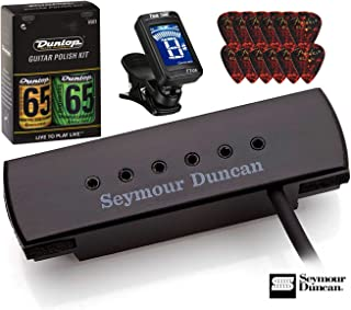 Seymour Duncan SA-3XL Woody XL Black Soundhole Acoustic Gutiar Pickup Bundle with Care Kit, Fender Picks, True Tune Tuner 11500-32-BLK