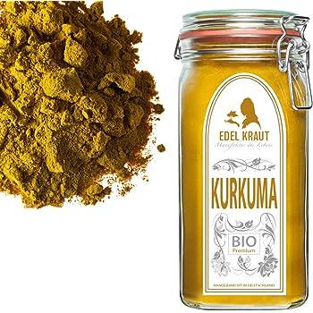 EDEL KRAUT | BIO KURKUMA-WURZEL (gemahlen) Curcuma PULVER im Premium Glas - für Smoothies, Goldene Milch, Pasten, Kurkuma Latte u.v.m - 750g