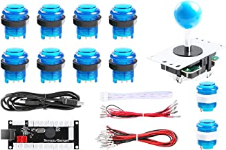 Hikig Arcade Games 8 Ways Fighting Stick + Zero Delay USB Encoder + 10x LED Illuminated Push Buttons DIY Kit for PC Windows and Raspberry Pi Cabinet Project,Color:Blue