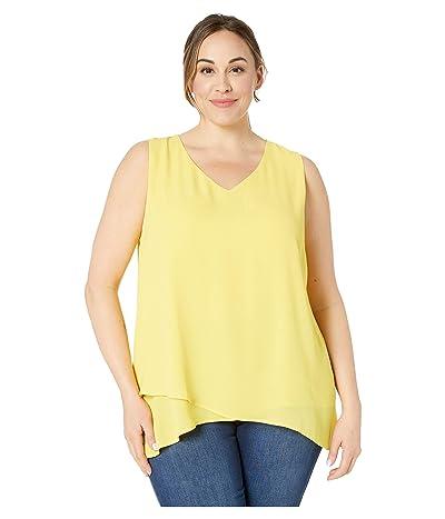 Karen Kane Plus Plus Size Split Back Crossover Top (Lemon) Women