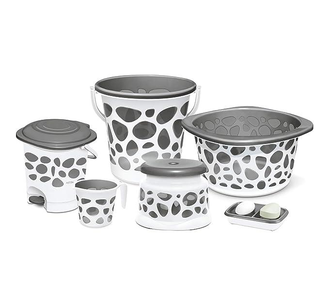 Milton Duplex Round Printed Bathroom Set Set Of 6 Grey Amazon In Home Kitchen
