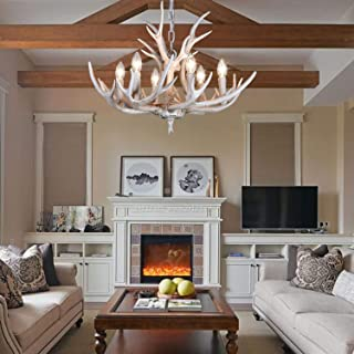 BOOU1 Layer Resin Antler Chandelier Antlers Vintage Style Resin 6 Light Chandeliers for Living Room Cafe Restaurant Kitchen bar American Countryside Deer Horn Ceiling Lights BN-1055-6B(White)