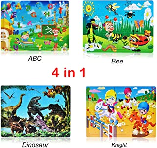 Roysberry Toys - Four Scenes The ABC Dinosaur World and Amusement Park Kids Wooden Puzzles Toys 3D Puzzle Shape - Christmas Halloween Birthday Gift Toy Jigsaw Puzzles for Kids Ages 4-8(4 in 1)