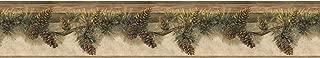 Chesapeake TLL01632B Pomona Pine Hill Wallpaper Border, Chestnut